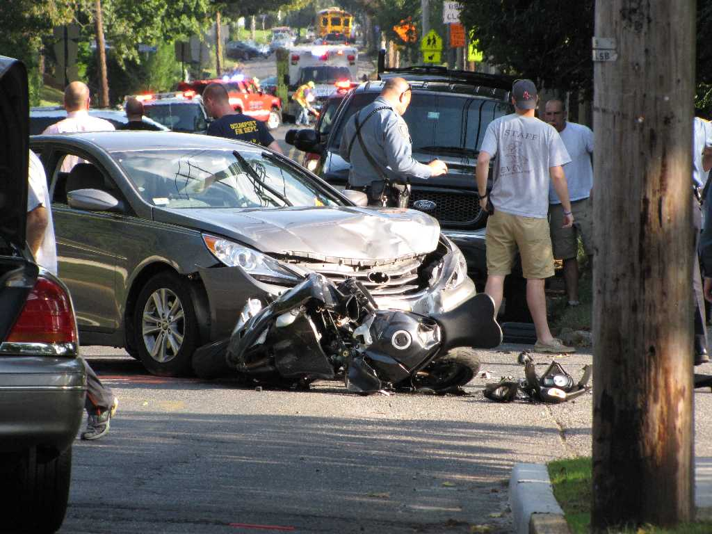 Little Silver Car And Motorcyle Collide Red Bank Green