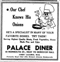 palace diner ad 1945