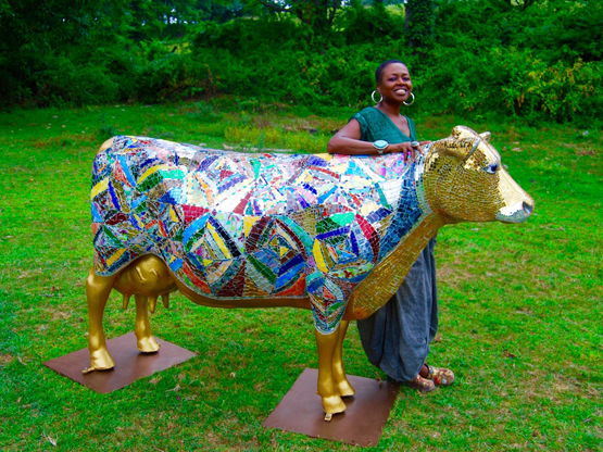 HOLY COW LIFE SIZED VINTAGE ART GLASS COW MOSAIC SCULPTURE BY SHELITA BIRCHETT BENASH 2015