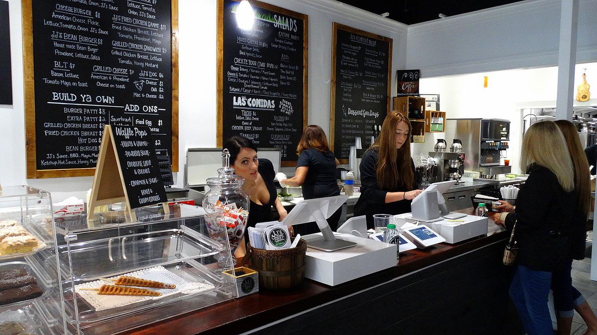 Chalkboards List Menu Options At Jj S Organic Grill Ordering Station Below Waffle Sticks