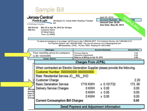 Sample JCP&L bill aggregation